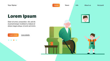 Grandma sitting in armchair and little grandson smiling. Kid, boy, generation flat illustration. Family and parenting concept for banner, website design or landing web page Vettoriali