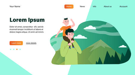 Father with son walking in mountains. Forest, route, parent flat illustration. Nature and fatherhood concept for banner, website design or landing web page