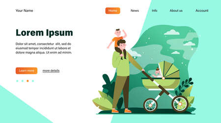 Happy father walking with children. Baby, carriage, park flat vector illustration. Family and fatherhood concept for banner, website design or landing web page