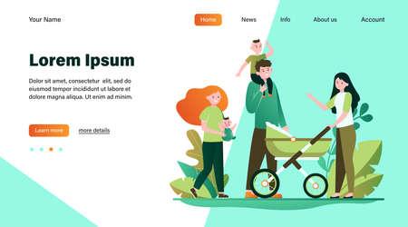 Happy big family walking together. Mother, kid, father flat vector illustration. Parenthood and relationship concept for banner, website design or landing web page
