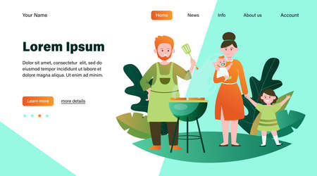 Family with kids grilling barbecue meat outdoors. Picnic, children, parents flat vector illustration. Leisure, summer, food concept for banner, website design or landing web page