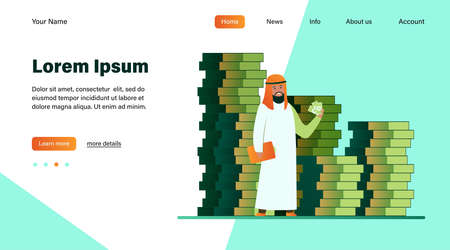 Arabic business man. Person in traditional ethnic clothes standing at huge heap of money cash flat illustration. Finance, success, capital concept for banner, website design or landing web page 일러스트