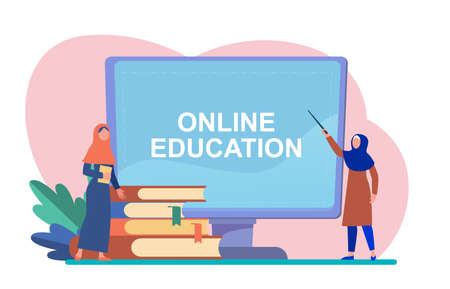 Tiny Arabian woman learning via computer. Book, student, internet flat vector illustration. Study and online education concept for banner, website design or landing web page