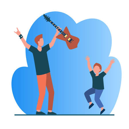 Rocker father and son having fun. Boy and his dad with guitar dancing, listening to music flat vector illustration. Parenthood, entertainment concept for banner, website design or landing web page