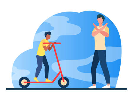 Dad forbidding son to ride scooter. Showing stop gesture, prohibition sign flat vector illustration. Parenthood, childhood, danger concept for banner, website design or landing web page