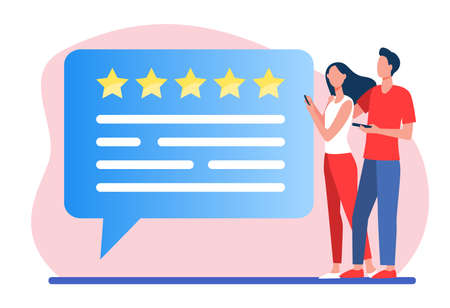 Customers submitting review. Couple using phones, speech bubble with rate stars flat vector illustration. Positive feedback, clients satisfaction concept for banner, website design or landing web page