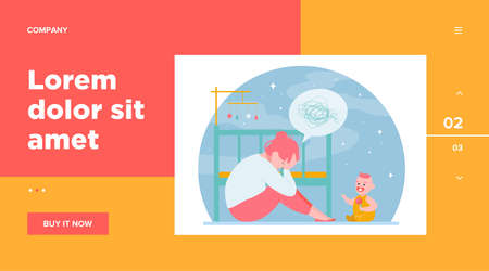 Depressed woman with newborn flat vector illustration. Sleepy tired young mom sitting near bed and baby in anxiety mood. Motherhood and parenting difficulties concept