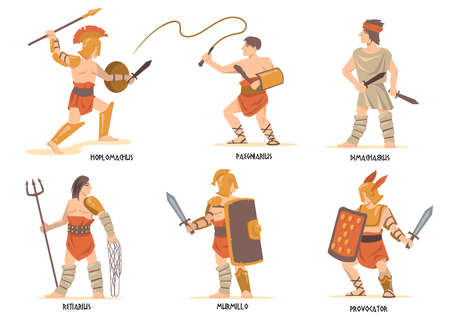 Gladiators characters set. Ancient Roman and Greek warriors, mythology characters, Spartan soldiers with swords and shields. Vector illustration for history, empire, war, fight concept
