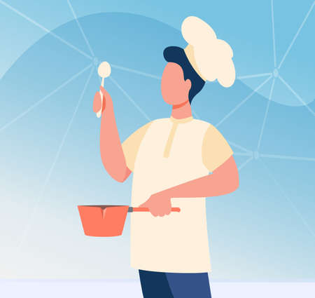 Male chef with utensil wearing cook hat. Man in uniform holding spoon and saucepan flat vector illustration. Cooking class, job, blog concept for banner, website design or landing web page