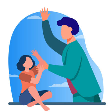 Father beating little daughter. Child abuse, punishment, anger flat vector illustration. Parenthood problems, domestic violence concept for banner, website design or landing web page