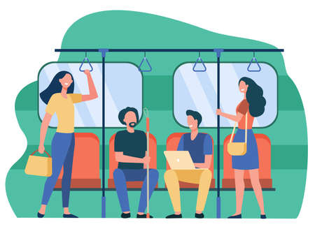 People traveling by subway or underground flat vector illustration. Cartoon sitting and standing in train of city metro. Public transport and trip concept