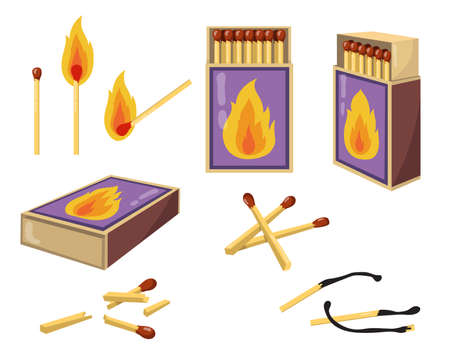 Matches and matchboxes flat illustration set. Cartoon burnt matchsticks with fire and opened boxes for wood matches isolated vector illustration collection. Heat and design concept 版權商用圖片 - 156785589