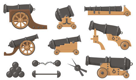Medieval cannons with cannonballs flat illustration set. Cartoon metal and wooden weapon for old ships and firing battle isolated vector illustration collection. History, destruction and war concept Vetores