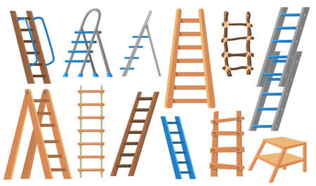 Metal and wooden ladders flat illustration set. Cartoon stepladders for builders and painters on white background isolated vector illustration collection. Construction and livestock farming concept