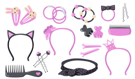 Cute woman hair accessories flat illustration set. Cartoon elastic bands, bows and plastic hoops for head isolated vector illustration collection. Stylist salon and beauty concept