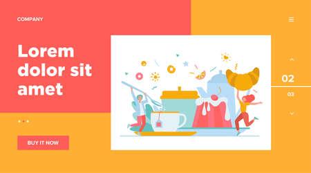 People having fun in tea party. Cartoon men and woman enjoying hot drink, cookies, croissant, dessert. Vector illustration for coffee break, bakery, sugar, menu concept