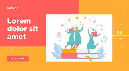 Happy students graduating with academic diploma flat vector illustration. Cartoon girls and guy celebrating graduation from university or college. Education and learning concept
