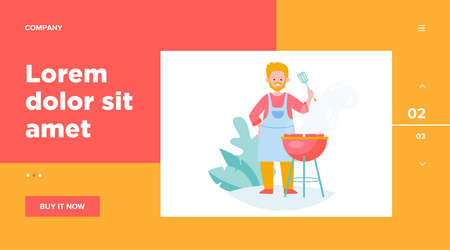 Man fried meat on nature flat vector illustration. Cartoon cook grilling steak and cooking fresh food or shashlik outdoors. Summer BBQ and picnic concept