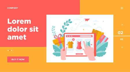 Online shop page on tablet flat vector illustration. Customer or buyer hands holding mobile device and choosing clothes. Commerce website and shopping concept Vettoriali