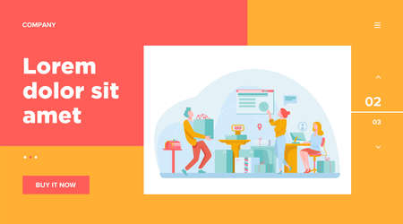 People working at post office flat vector illustration. Shipping and delivery service concept. Mail and parcels delivery cycle. Work process inside view.