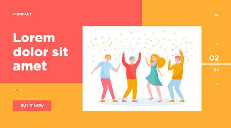 Happy people dancing at party together flat vector illustration. Cartoon excited friends or coworkers celebrating with confetti. Achievement and celebration concept
