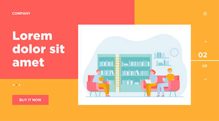 People in library flat vector illustration. Cartoon man and woman reading books and sitting on armchair or sofa. Study, knowledge and learning concept Vettoriali