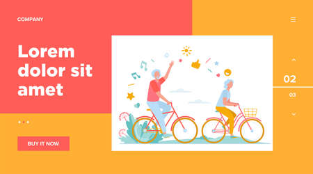 Senior man and woman riding bikes in city park. Happy cartoon old family couple enjoying outdoor activity. Vector illustration for retirement, active lifestyle, age, relationship concept