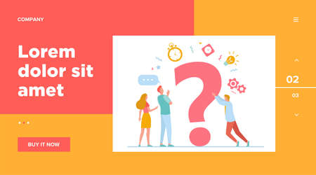 People searching solutions and asking for help. Men and women discussing huge question mark. Vector illustration for communication, assistance, consulting concept Vettoriali