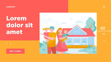 Happy young family standing in front of house flat vector illustration. Cartoon mother, father and kids being outside together. Togetherness, love, home and happiness concept