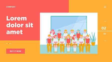 School students posing for class photo in classroom. Teen boys and girls in uniforms sitting in rows near blackboard. Vector illustration for memory, classmates, education concept