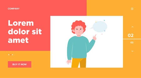 Red-haired guy pointing at empty speech bubble. Finger, chat, network flat vector illustration. Communication and message concept for banner, website design or landing web page