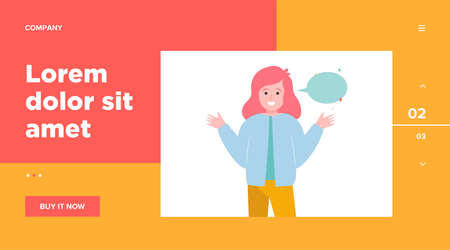 Smiling girl and empty speech bubble. Hand, speaking, conversation flat vector illustration. Communication and message concept for banner, website design or landing web page Vettoriali