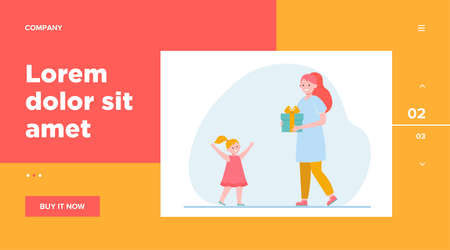Happy mother holding gift for little daughter. Present, kid, love flat vector illustration. Parenthood and family concept for banner, website design or landing web page