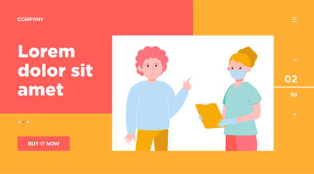 Patient visiting doctor office. Man consulting his physician wearing face mask flat vector illustration. Medical examination, healthcare concept for banner, website design or landing web page