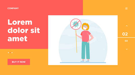 Person protesting against coronavirus. Man wearing face holding placard with stop sign flat vector illustration. Epidemic, spread, virus concept for banner, website design or landing web page