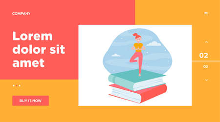 Happy student girl doing yoga. Stack of books, night sky, tree pose flat vector illustration. Meditation, relaxation, balance concept for banner, website design or landing web page Vettoriali