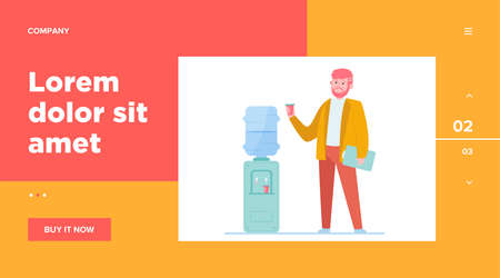 Man drinking water at cooler. Office employee, worker, work break flat vector illustration. Beverage, refreshment, watercooler concept for banner, website design or landing web page