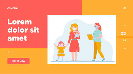 Mother with little children visiting pediatrician. Doctor in face mask meeting patient flat vector illustration. Medical examination, virus concept for banner, website design or landing web page