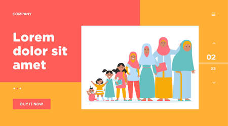 Muslim woman in different age. Adult, child, grandma flat vector illustration. Growth cycle and generation concept for banner, website design or landing web page Vettoriali
