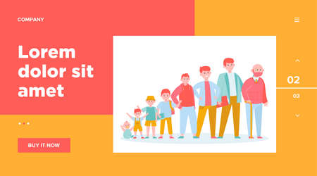 Red-haired man in different age. Teenager, infancy, father flat vector illustration. Growth cycle and generation concept for banner, website design or landing web page Ilustracja