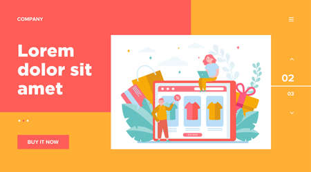 Happy people buying clothes online. T-shirt, percent, customer flat vector illustration. E-commerce and digital technology concept for banner, website design or landing web page