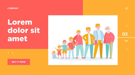 Man from infant to pensioner evolution. Adult, life, cycle flat vector illustration. Growth cycle and generation concept for banner, website design or landing web page