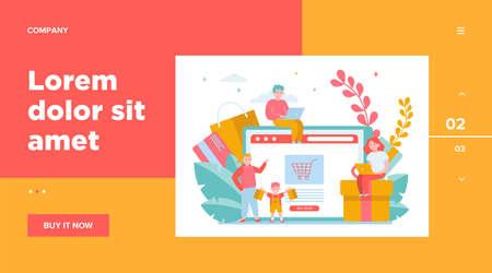 Happy people shopping online. Basket, tablet, customer flat vector illustration. E-commerce and digital technology concept for banner, website design or landing web page Vettoriali