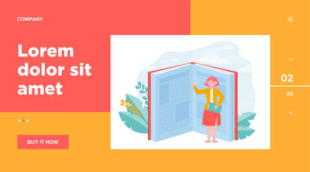 Student pointing hand at book pages. Open textbook, tiny character, reader, knowledge flat vector illustration. Library, literature, education concept for banner, website design or landing web page