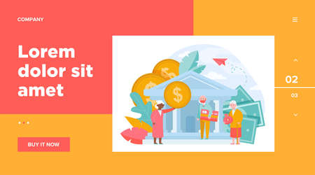 Old people getting pension payment. Senior man and woman with money and credit card standing near bank flat vector illustration. Finance, saving concept for banner, website design or landing web page