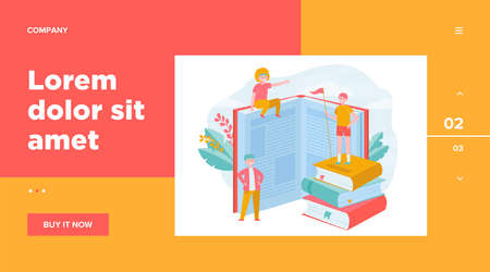 Happy sporty readers among books. Student standing on stack of books, getting knowledge, studying flat vector illustration. Library, education concept for banner, website design or landing web page