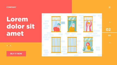 People living in one building. Apartment, window, neighbor flat vector illustration. Lifestyle and neighborhood concept for banner, website design or landing web page