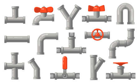Plumbing pipes set. Grey metal tubes with valves, industrial pipelines, water drains isolated on white background. Flat vector illustrations for engineering, connection system concept Vettoriali