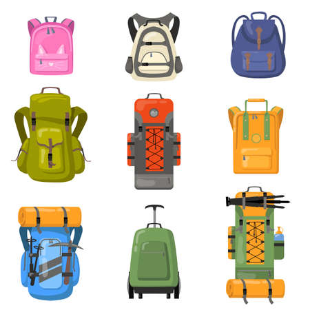 Colorful backpacks set. Bags for school, camping, trekking, mountain climbing, hiking. Flat vector illustrations for tourist equipment, rucksack, luggage concept Vettoriali