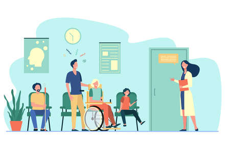 Patients in hospital waiting in line flat vector illustration. Cartoon characters talking with nurse, medical worker or therapist in corridor. Healthcare, health and medicine concept